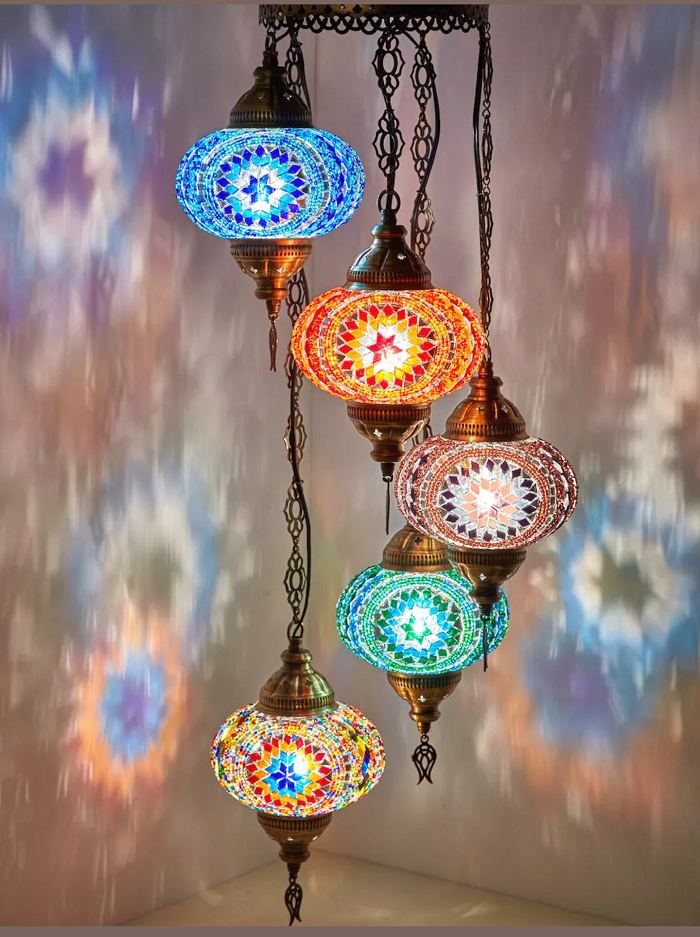 Turkish Handmade 5 Ball Mosaic Chandelier, Turkish Lamp, Mosaic Table Lamp, Mosaic Floor Lamp, Mosaic Lamp