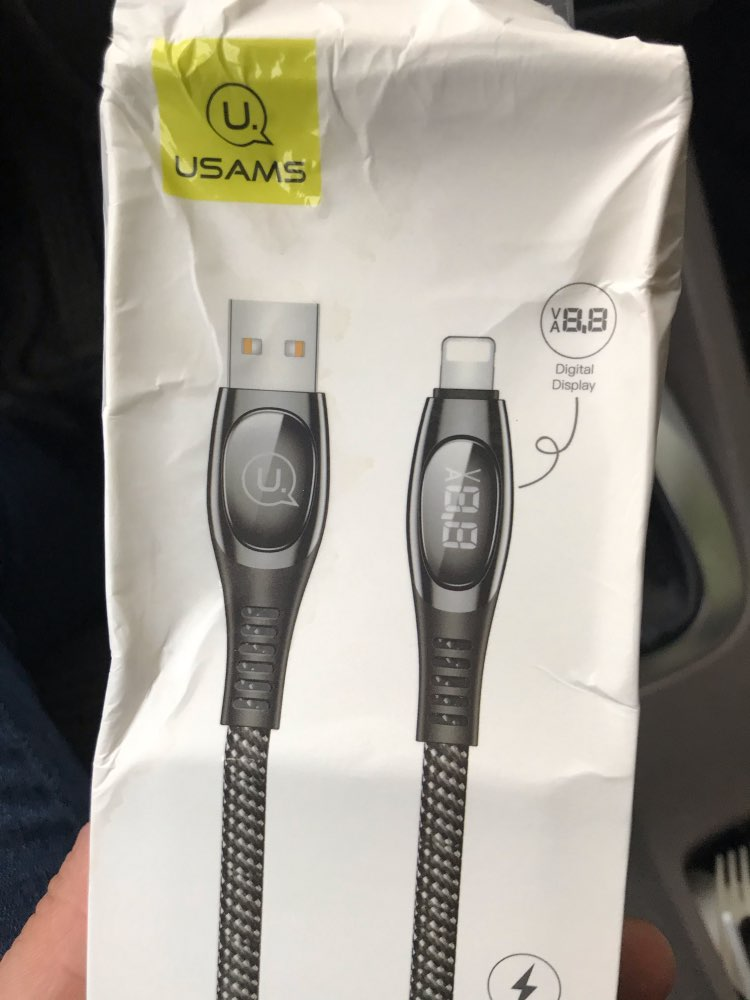 USAMS 2m Cable for iphone X XS Max XR 8 7 6 6s plus SE 5S LED Display Cable 2A fast charging Data Cable for iPhone charger cable-in Mobile Phone Cables from Cellphones & Telecommunications on AliExpress