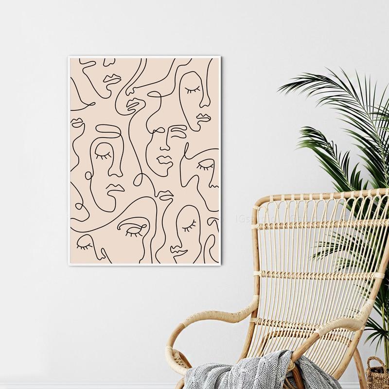 Single Line Face Art Canvas Poster Home Wall Decor