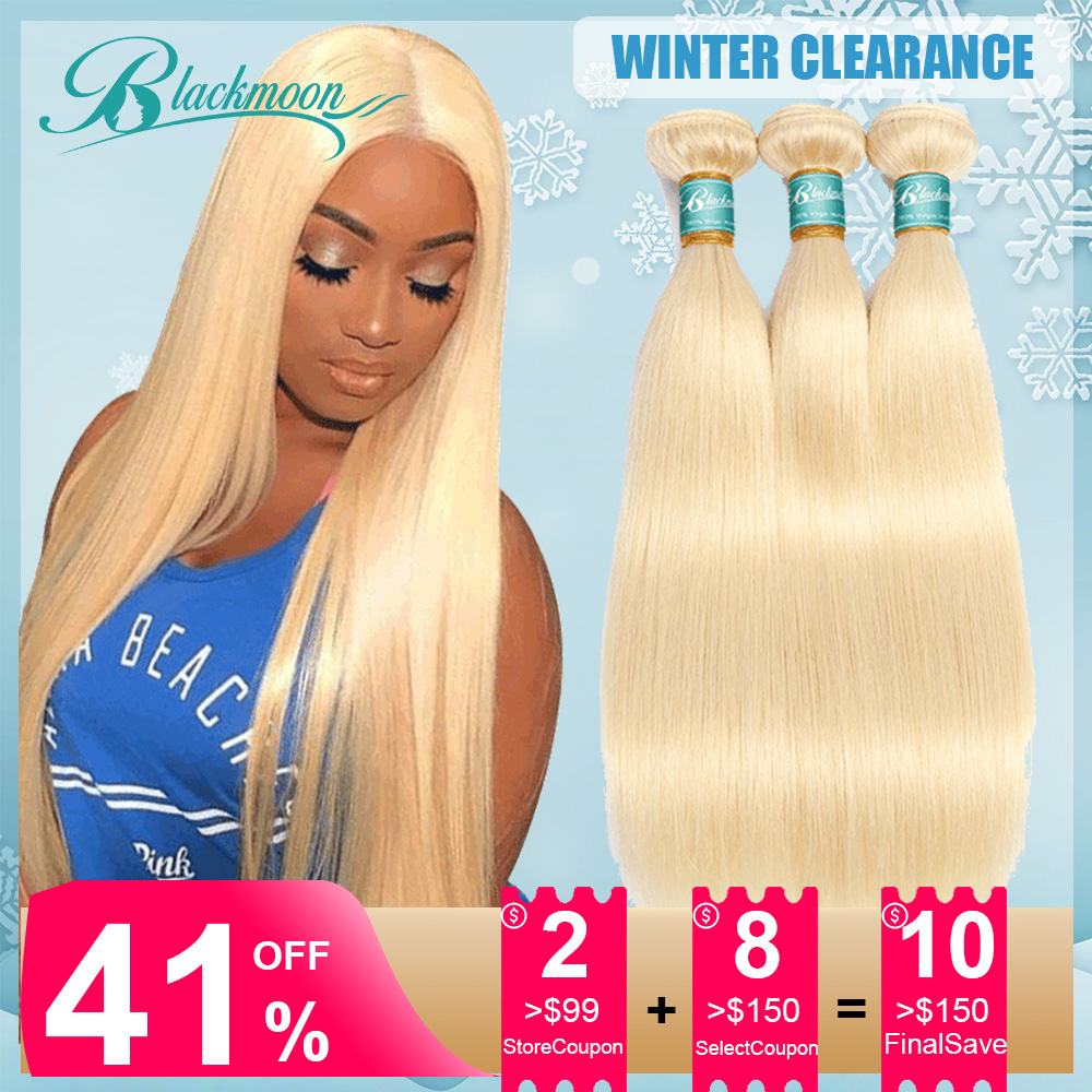613 Blonde Hair Bundles Straight Hair Bundles Brazilian Hair Weave Bundles Human Hair Bundles 3 Bundles Deal Remy Hair Blackmoon