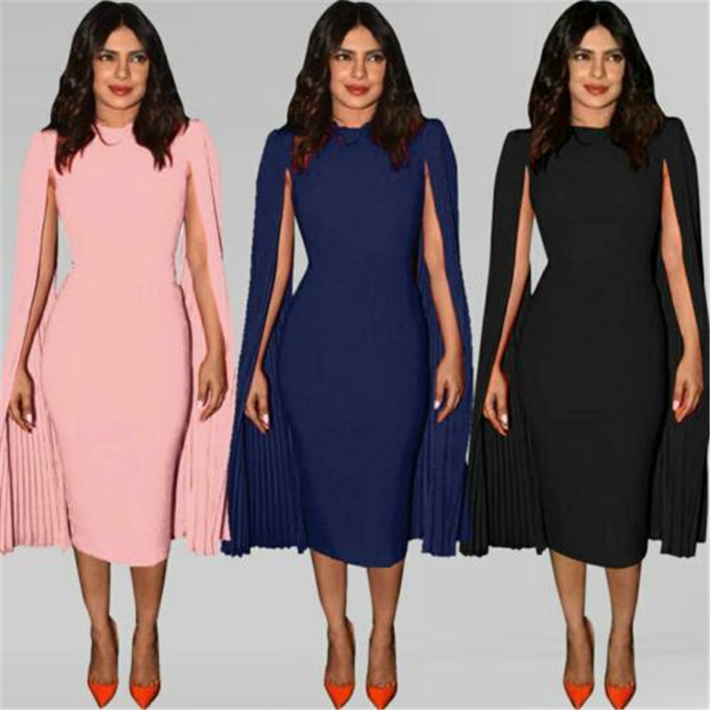Fashion Women Summer Pleated Shawl Bandage Bodycon Casual Sleeve Evening Party Club Midi Pencil Dress