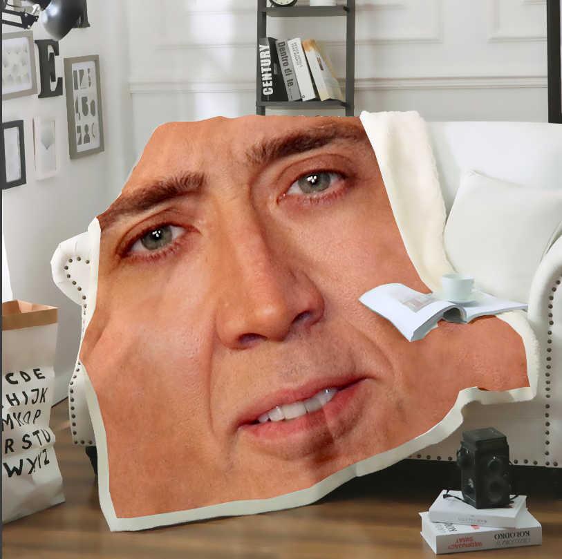SONSPEE 3D Drucken Erwachsene Kinder Lustige Nicolas Käfig Viele Gesichter Decke Sofa Bett Stuhl Rest Bettwäsche Hause Innen Dekor Versorgung b110