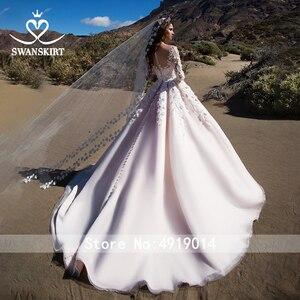 Image 2 - Swanskirt מתוקה אפליקציות שמלות כלה בציר 3D פרחי כדור שמלת משפט רכבת נסיכת כלה שמלת Vestido דה Noiva K192