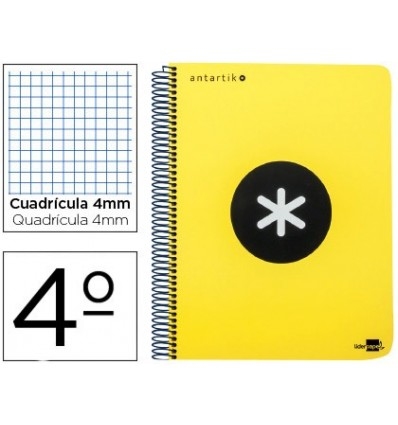 SPIRAL NOTEBOOK LEADERPAPER A5 ANTARTIK HARDCOVER 80H 100 GR TABLE 5MM MARGIN YELLOW