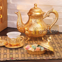 Vintage Style Zinc Casting Tea Pot Gold Color Silver Turkish Teapots Arabic Tea Pot Tea Set Traditional