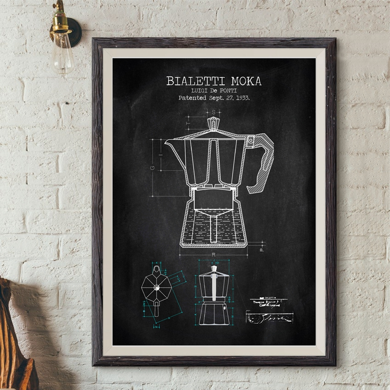 Coffee Pot Patent Posters And Prints Bialetti Moka Poster Coffee Blueprint Art Picture Canvas Painting Kitchen Wall Art Decor