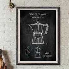 Dzbanek do kawy patentowe plakaty i druki białetti Moka plakat kawy Blueprint obraz na płótnie malarstwo ściana kuchenna dekoracja tanie tanio Yoolife Płótno wydruki Pojedyncze Wodoodporny tusz Unframed Retro i nostalgiczne stare meble PH6941-PH6945-190811 Malowanie natryskowe