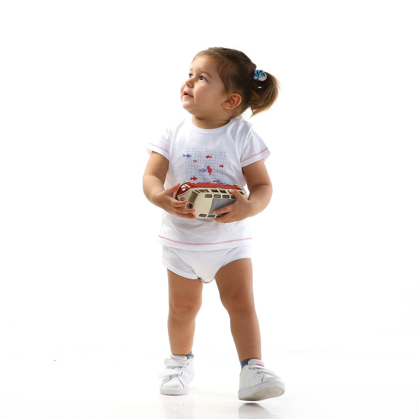 Ebebek HelloBaby Fish Theme Baby Girl Short Sleeve Bodysuit