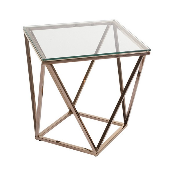 Side Table Stainless Steel Glass (50 X 50 X 55 Cm)