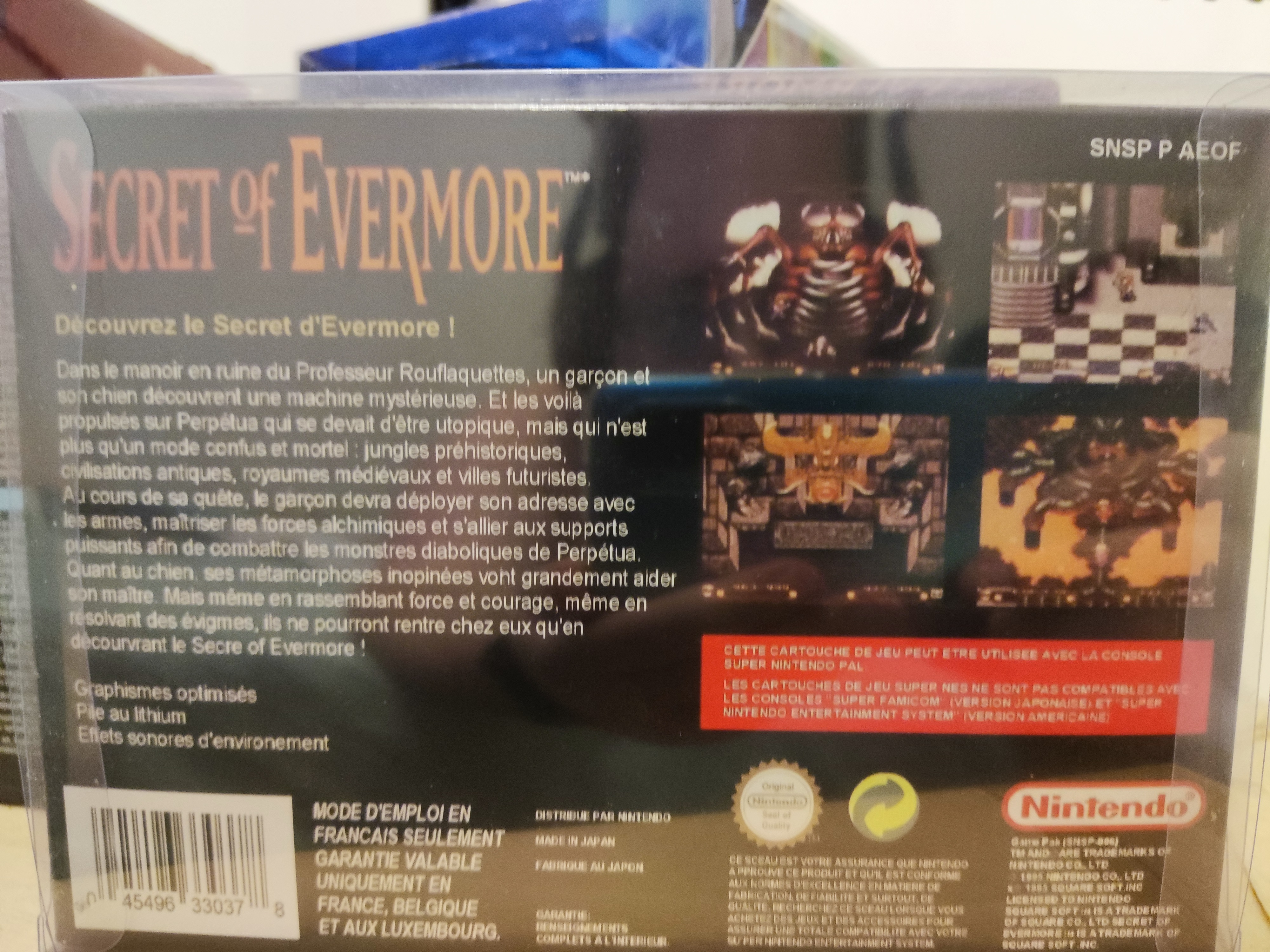 Secret of Evermore with box 16bit game cartridge EU Version for pal console photo review