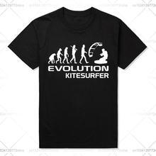 Хлопковая парная Повседневная футболка с принтом kitesurfer