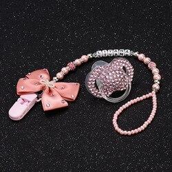 Personalisierte-jede name set stunning rosa bling schnuller clip halter dummy clip mit bling schnuller für schöne baby