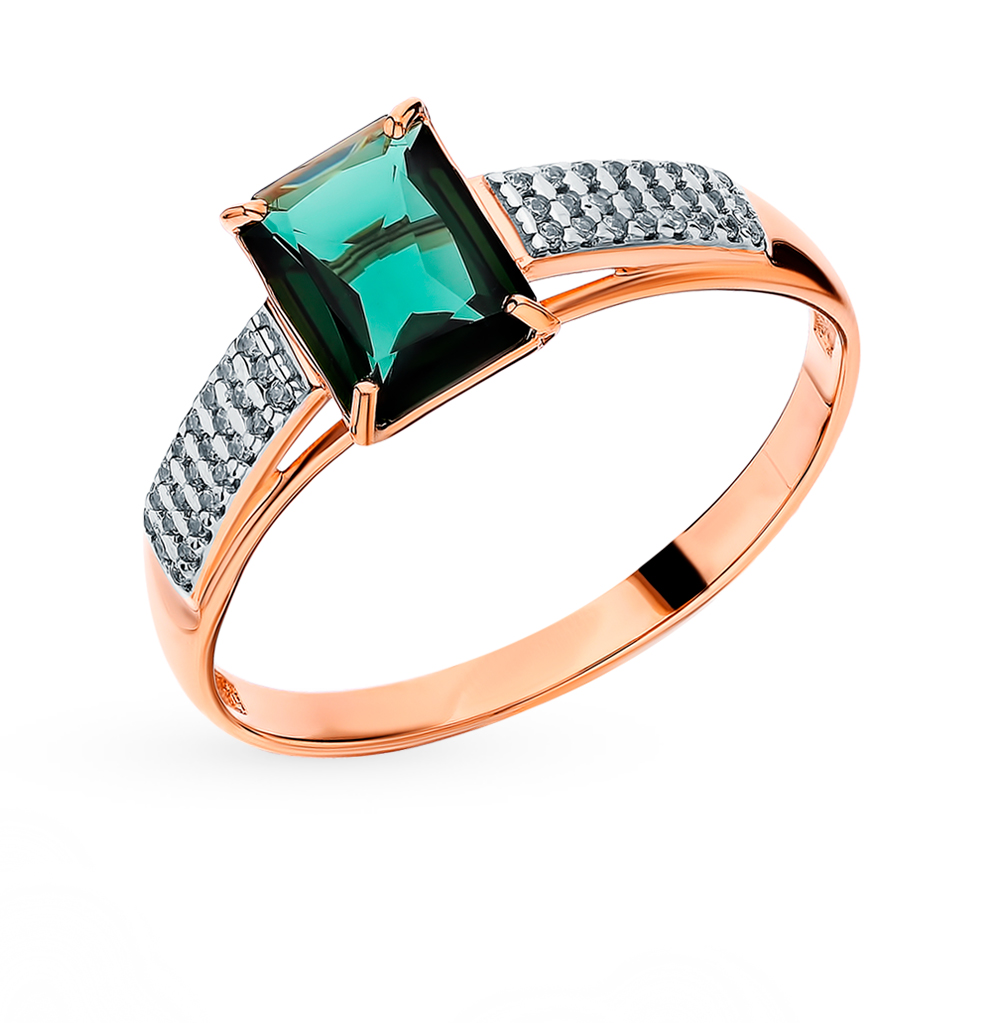 Gold Ring With Tourmaline And Cubic Zirconia Sunlight Sample 585
