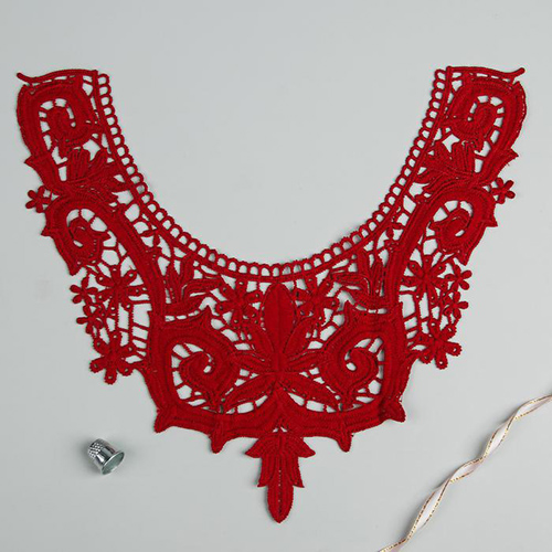 3020283 Collar Sewn,, Lace, 31*27 Cm, Burgundy Color