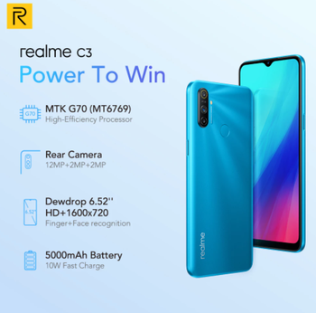 Realme C3 Unlockphone, 3 Гб оперативной памяти, Оперативная память 64 Гб Встроенная память Мобильный телефон на процессоре Helio G70 12MP Камера 6,5 дюйммини-капля...