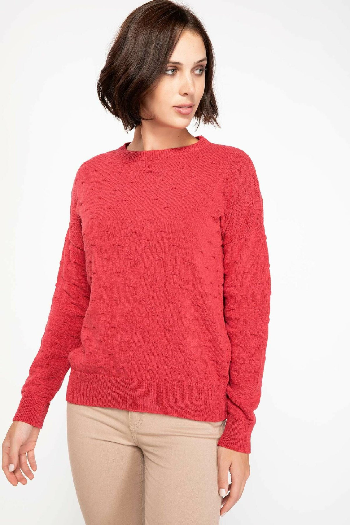 DeFacto Women Fashion Simple Solid O-neck Slim Knitted Pullovers Casual Long Sleeves Women Tops Autumn New -I3784AZ18WN