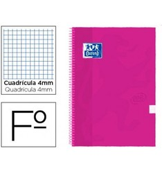 Спиральная записная книжка OXFORD с крышкой extraura FOLIO 80 H GRID 4 мм Розовая Малина TOUCH