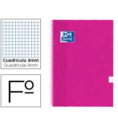 SPIRAL NOTEBOOK OXFORD LID EXTRADURA FOLIO 80 H GRID 4 MM PINK RASPBERRY TOUCH