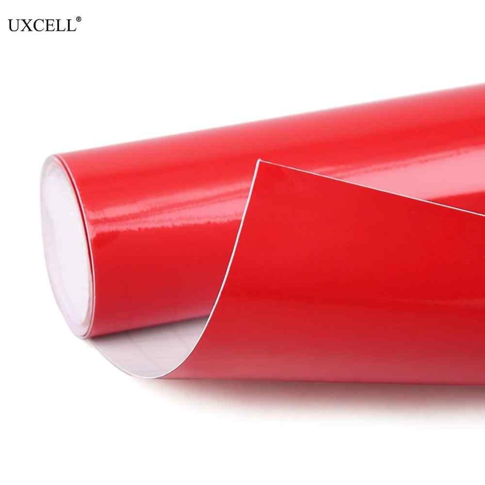 Uxcell 1 confezione lucida nero bianco rosso senza bolle autoadesivo autoadesivo dell'involucro del Film del vinile dell'automobile 152cm x 60cm