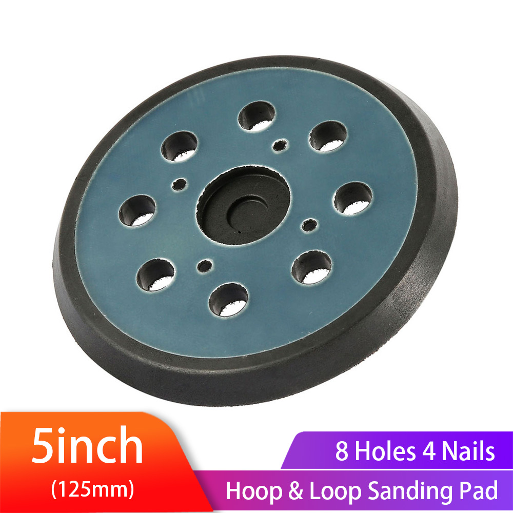 5 Inches 125 MM 8-Hole Back-up Sanding Pad 4 Nails Hook And Loop Sander Backing Pad For Electric  Makita Orbital Sander
