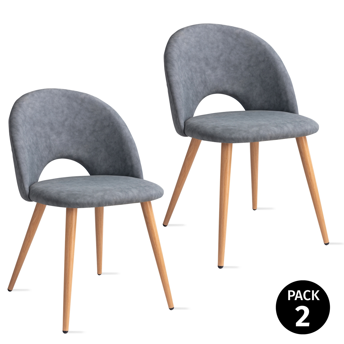 Pack 2 Sillas De Dining Room Nordicas Synthetic Leather Overlay Grey, Seats And Armchairs For Living Topsy Metal Effect Wood 49x46x76cm