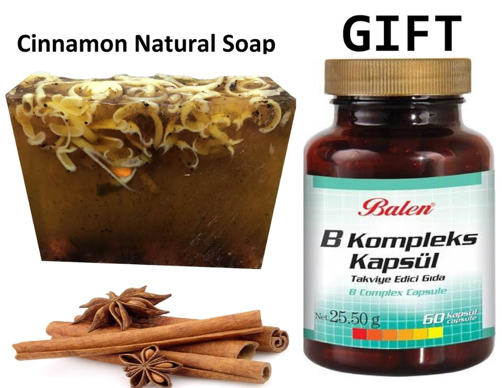 Anti Acne Cinnamon Natural Handmade Soaps 100 Gr+Gift Food Supplement B Vitamins Extract 60 Capsules For Body Health