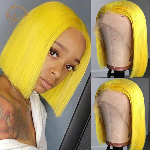Red Bob Lace Front Human Hair Wigs 13X4 Blonde Pink Blue Grey Green Orange Ginger Colored Short Bob Lace Frontal Wig Closure Wig 6