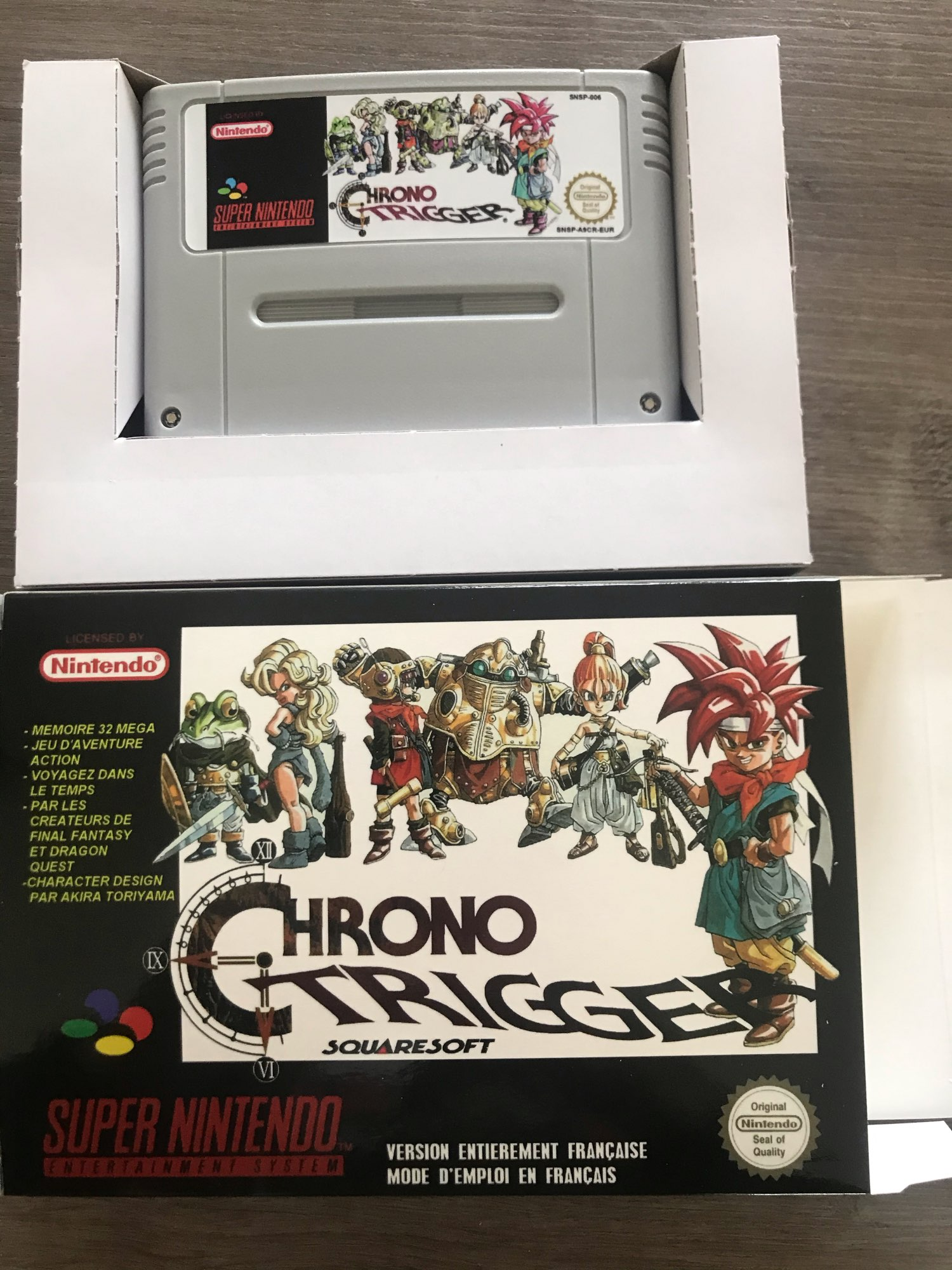Chrono Trigger 16bits game cartridge with box for Pal console photo review