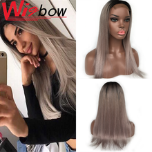12 Inch Wig Grey Human Hair Wig Lace Closure Wig Brazilian Hair Remy Ombre Wig For Women Straight Hair Lace Wig Middle Part Wig cool nylon fans wig for brazilian world cup yellow green