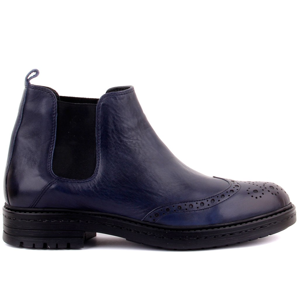 Sail Lakers-Navy Blue Leather Step-in Men Boots