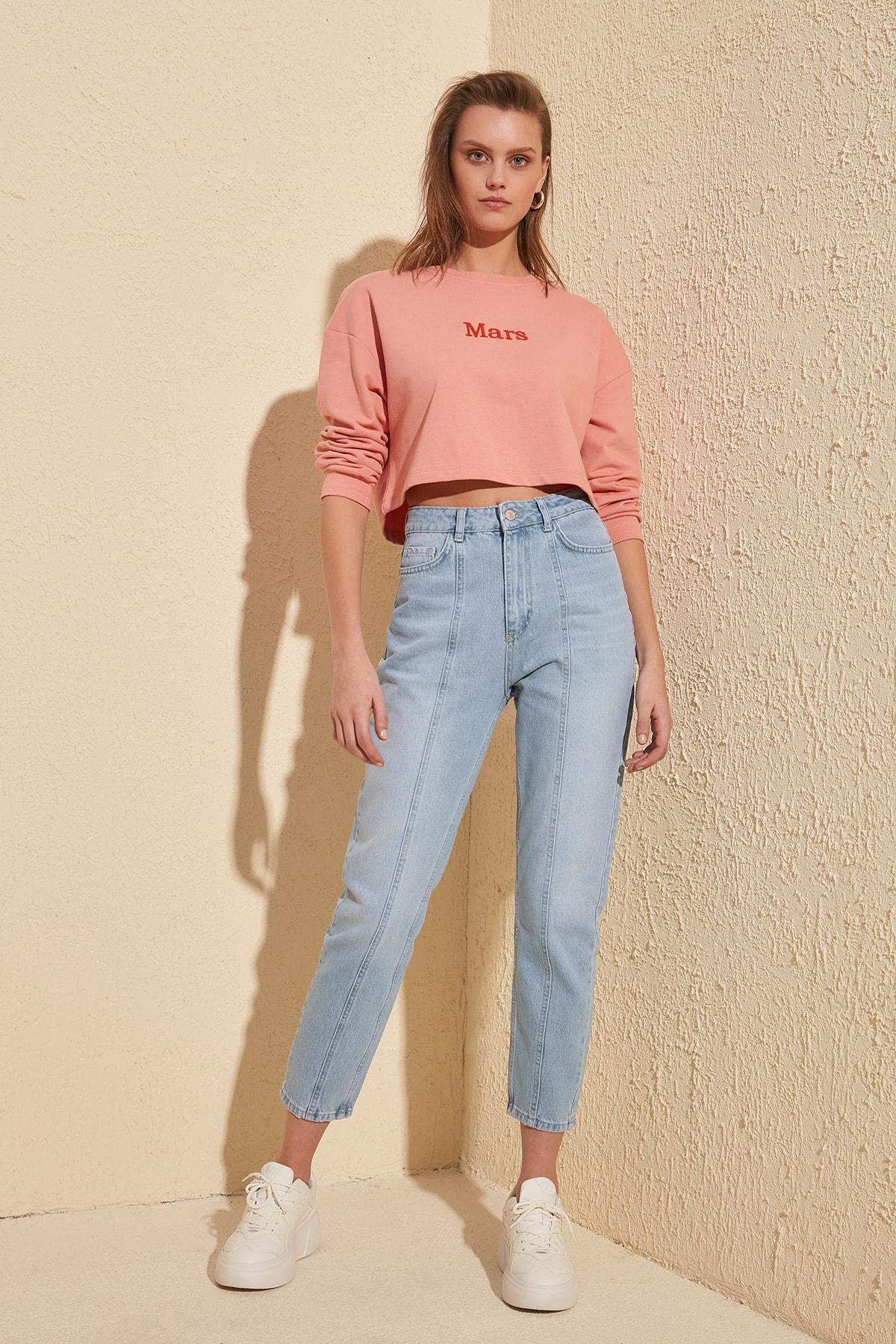 Trendyol Stitch Detail High Bel Mom Jeans TWOSS20JE0086
