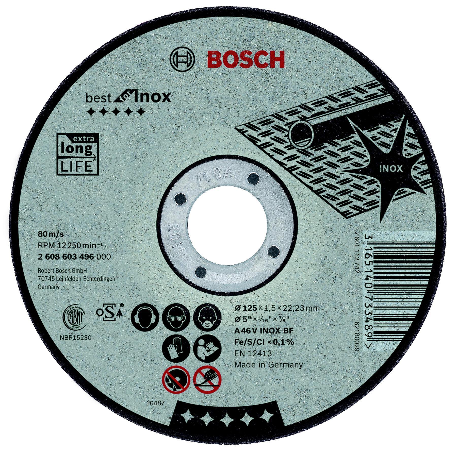 Circle Cutting BOSCH 125х1. 5х22 Best For Inox (2.608.603.496)