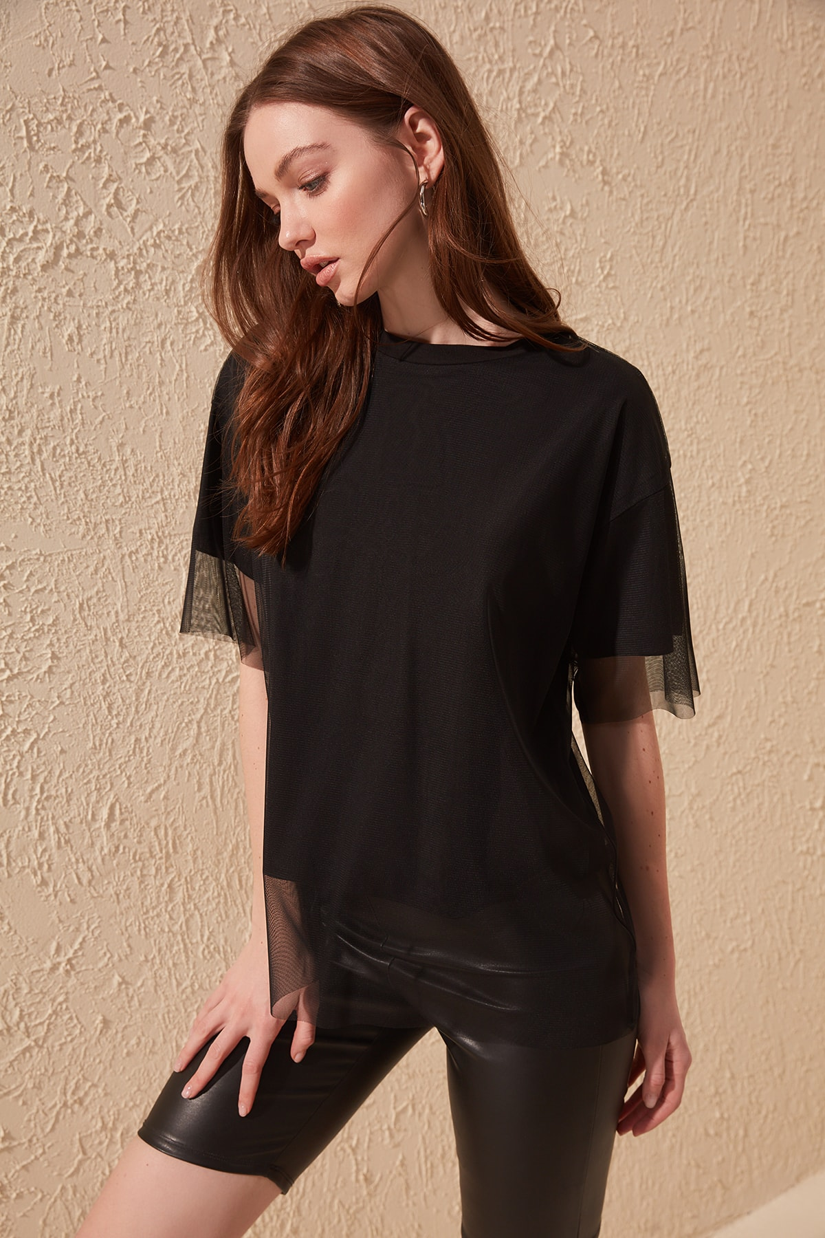 Trendyol Tulle Detailed Knitted T-Shirt TWOSS20TS0046