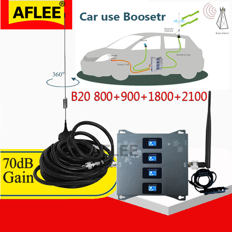 Car Use!! B20 800 900 1800 2100mhz Four-Band Cell Phone Cellular Amplifier GSM Repeater 2G 3G 4G Signal Booster DCS WCDMA LTE
