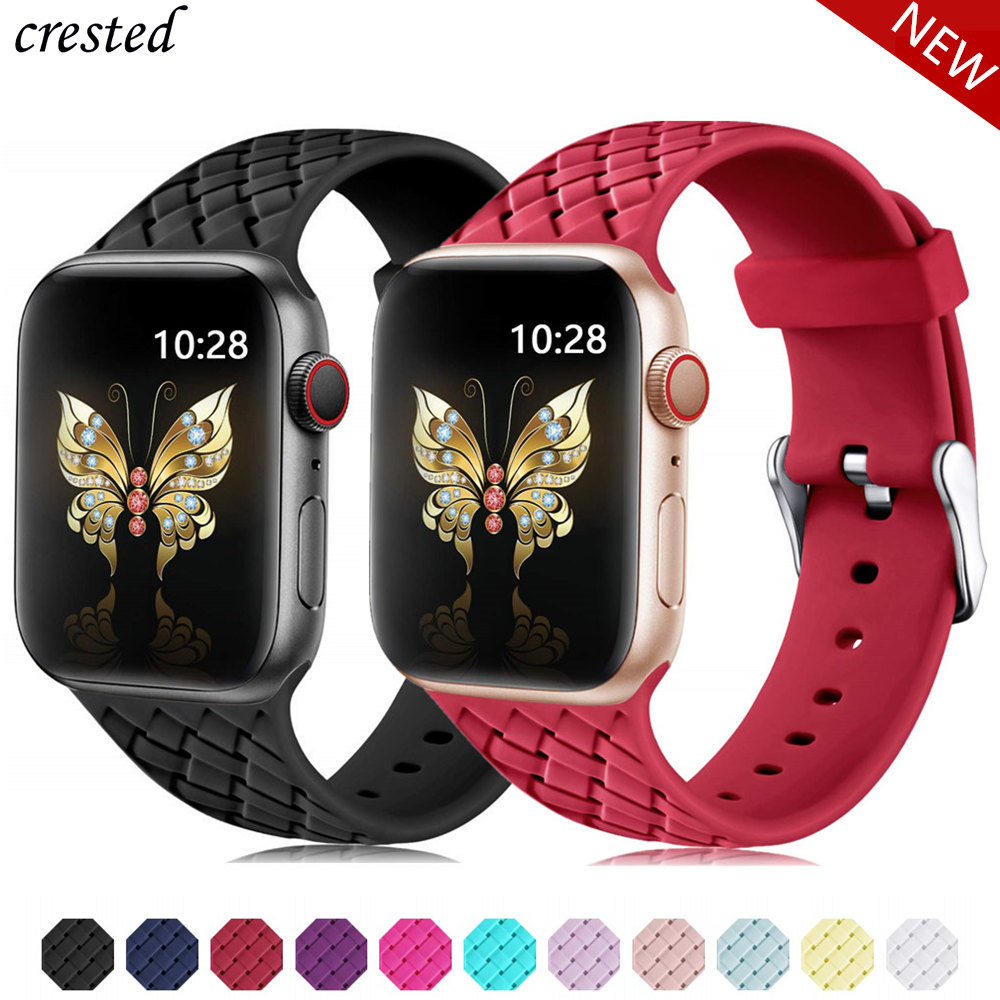 Silicone Strap for Apple watch 6 band 44mm 40mm series 5 4 3 2 SE Accessories Woven Pattern belt bracelet iWatch band 42mm 38mm(China)