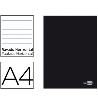 NOTEPAD LEADERPAPER BLACK LID A4 80 SHEETS 60G/M2 HORIZONTAL DOUBLE MARGIN 10 Pcs