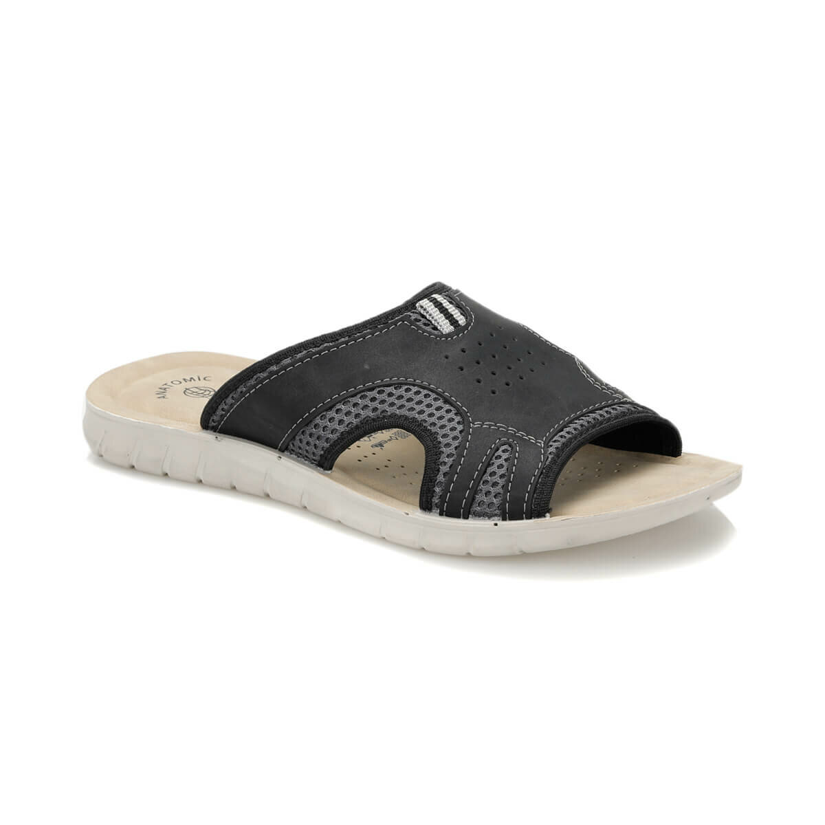 FLO ALS303 Black Male Slippers Panama Club