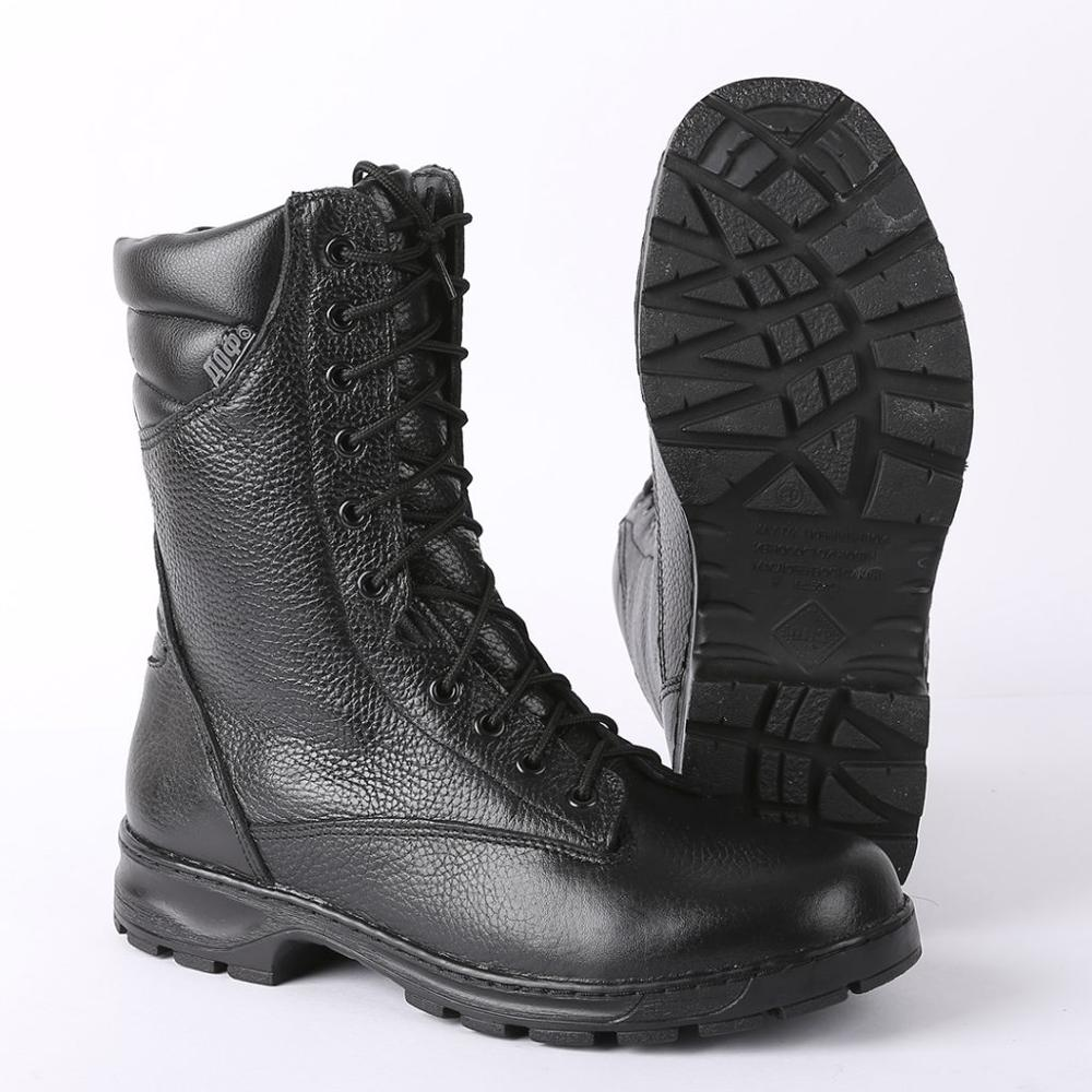 Demiseason Genuine Leather Lace-up Black Army Ankle Boots For Men Fashion High Shoes Flat Military Boots 5009\1 WA