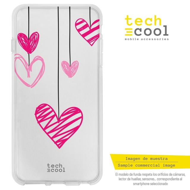 FunnyTech®Coque en Silicone pour Samsung Galaxy Note 4 l coeurs suspendus transparents
