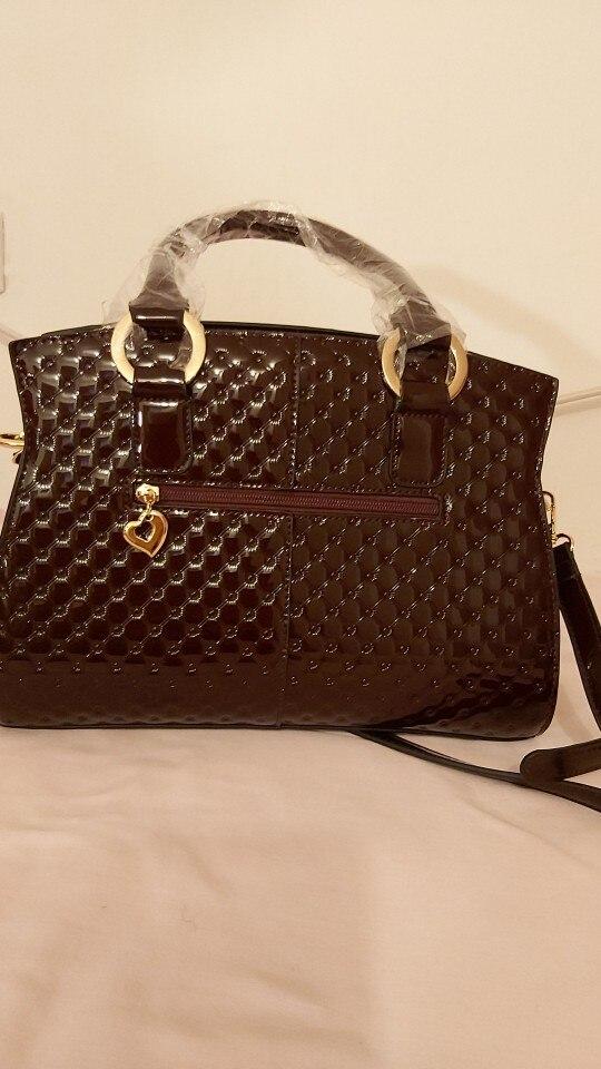 Women Genuine Patent Leather Handbags photo review