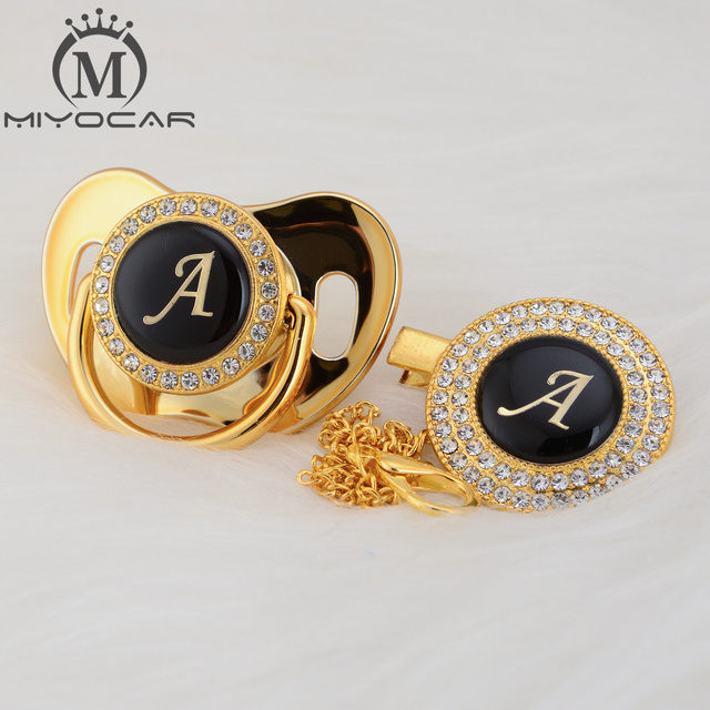 MIYOCAR Gold silver name Initials letter A beautiful bling pacifier and pacifier clip BPA free dummy bling unique design LA
