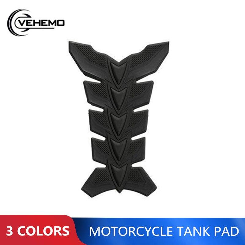 Vehemo 1PC Carbon Fiber 3D Motorcycle Tank Pad Anti-scratch Tankpad Oil Gas Protector Sticker For Honda Kawasaki Yamaha Suzuki