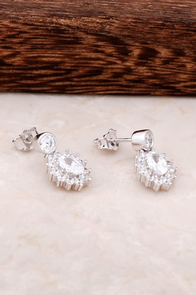 Diamond Mounted Silver Earring 4367 High Quality Hand Made Original Filigree Silver Jewellery Gift