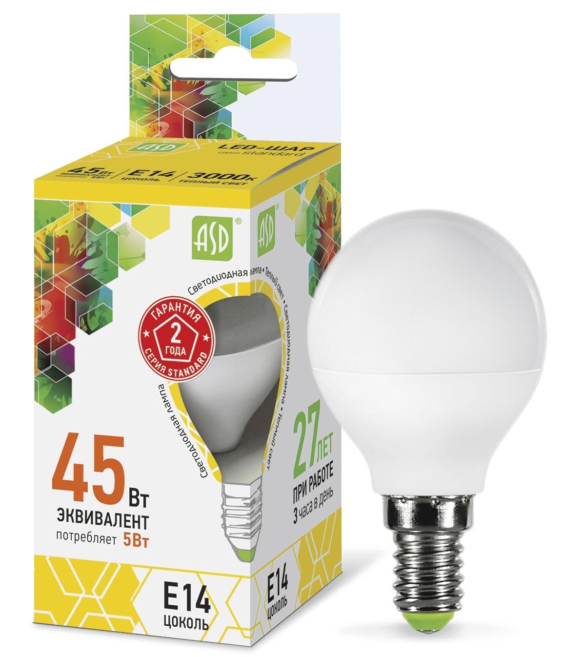 Lamp Led Led Ball-standard 5w 160-260v E14 3000 K 450lm ASD 4690612002125