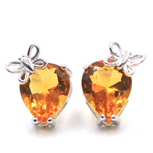 14x10mm 2.83g Gorgeous Butterfly Golden Citrine Real 925 Solid Sterling Silver Stud Earrings