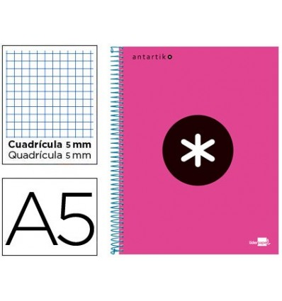 SPIRAL NOTEBOOK LEADERPAPER A5 MICRO ANTARTIK LINED TOP 120H 100 GR CUADRO5MM 5 BANDS 6 DRILLS PINK