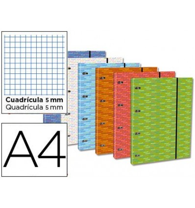 WALLET WITH REPLACEMENT LEADERPAPER A4 TABLE 5 MM 120 SHEETS 80 G LINED 4 RINGS 40 MM ROUND
