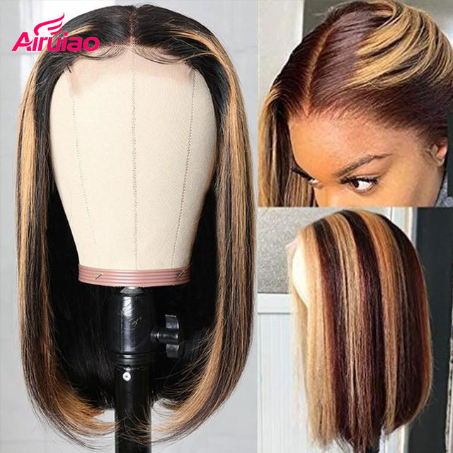 Highlight Honey Blonde Short Bob 13x6 Lace Frontal Human Hair Wigs Colored Lace Front Wig Nature Baby Hair For Full Black Women 4