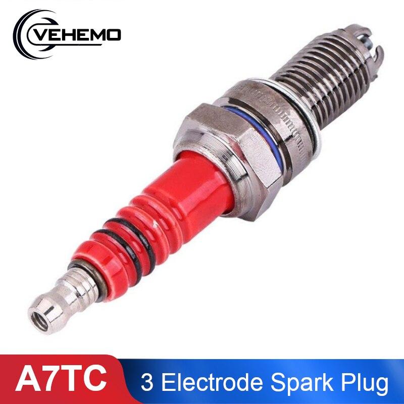 A7TC 3 Electrode GY6 Motorcycle Spark Plug Alloy 50cc-125cc Scooter Spark Plug Ignition Spark Plug Electrical