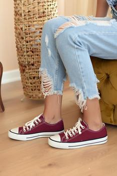 Różowy Potin kobiety burgundowe buty A3232-20Bordo tanie i dobre opinie Pembe Potin Oksfordzie TR (pochodzenie) Sztuczna skóra Gumką Pasuje prawda na wymiar weź swój normalny rozmiar Na co dzień